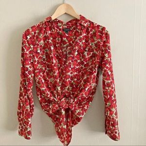 TALBOTS rose pocket button down red blouse